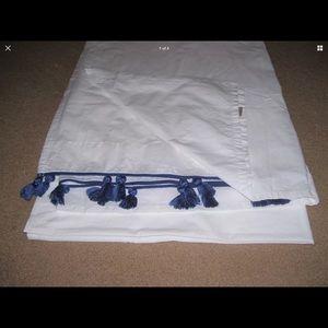 PB TEEN Tassel FLAT SHEET TWIN XL *White w/Tassels